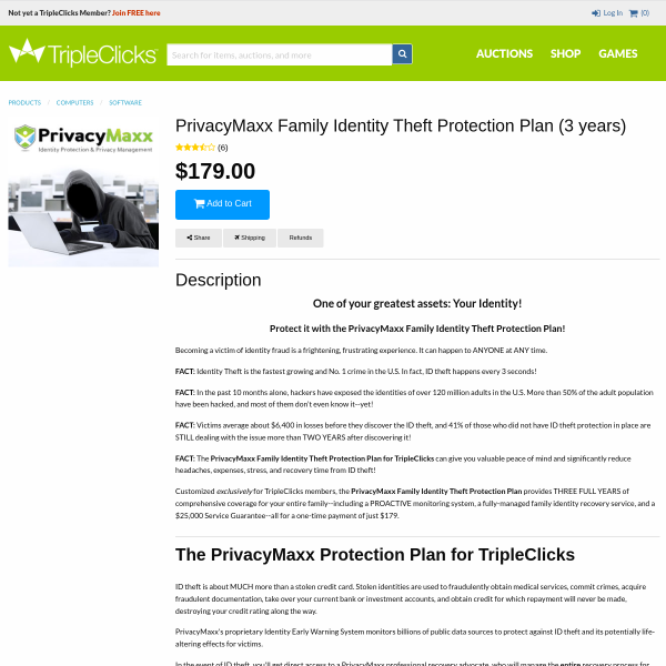 One of your greatest assets: Your Identity! PrivacyMaxx Family Identity Theft Protection Plan (3 ye
