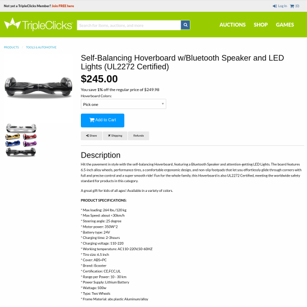 Self-Balancing Hoverboard w/Bluetooth Speaker and LED Lights (UL2272 Certified)