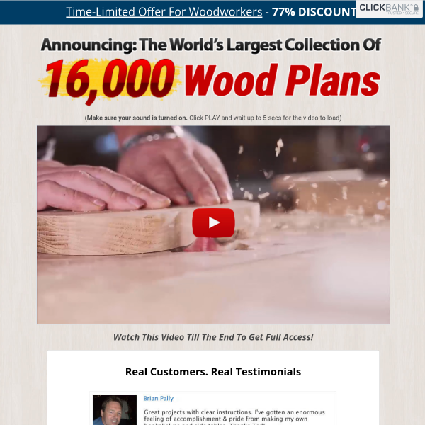Grab 16,000 woodworking plans here (Open Now)