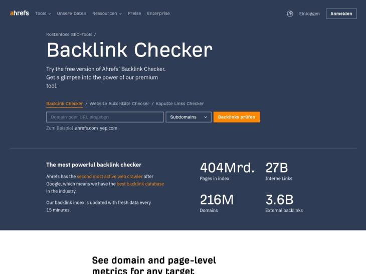 Kostenloser Backlink Checker von Ahrefs
