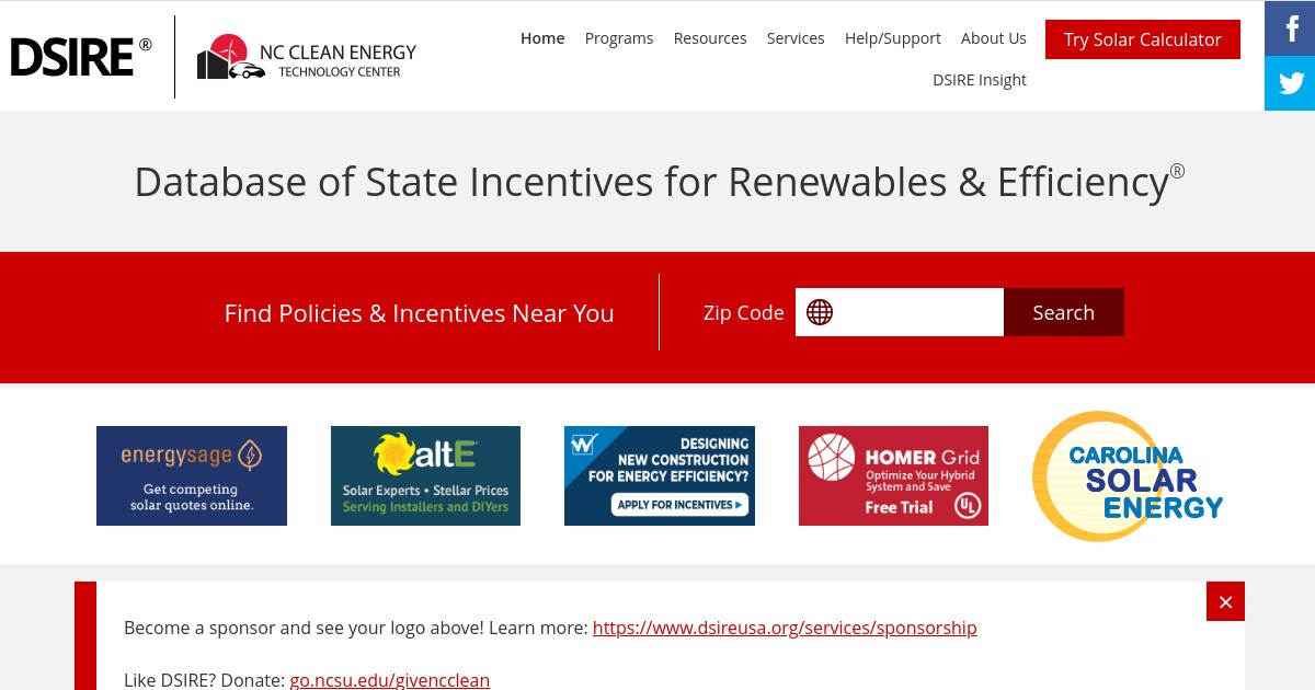 Database of State Incentives for Renewables & Efficiency