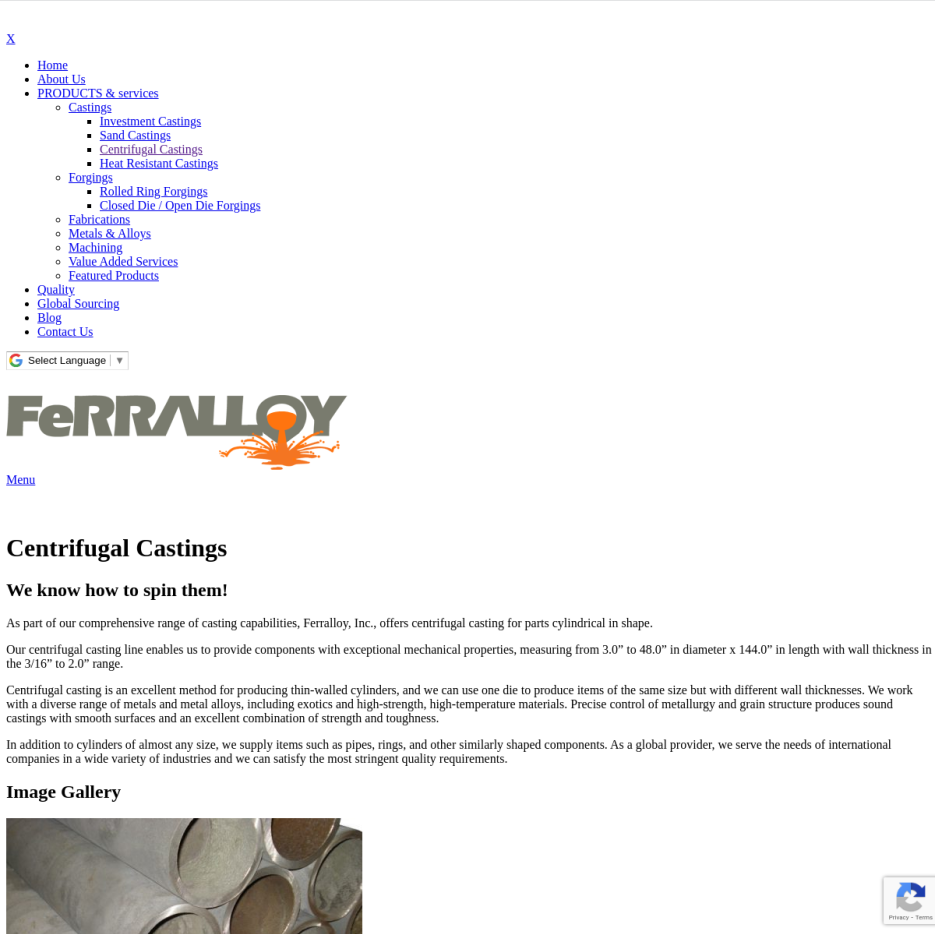 Ferralloy Inc. - Centrifugal Castings