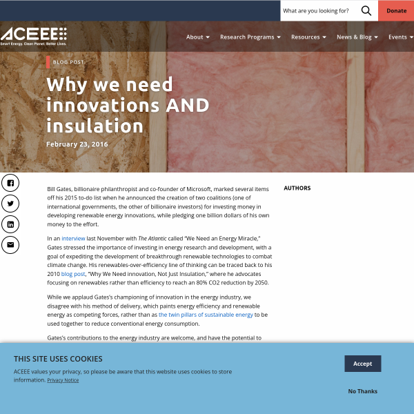 Why we need innovations AND insulation