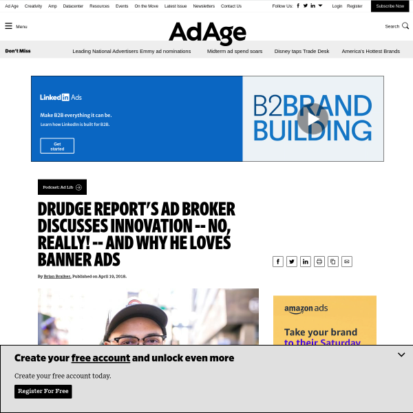 Drudge Report's ad broker discusses innovation -- no, really! -- and why he loves banner ads