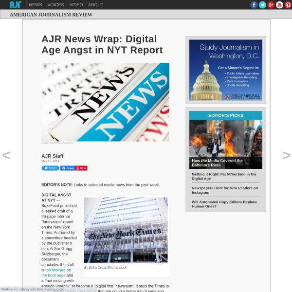 AJR News Wrap: NYT Innovation Report a Must Read for Digerati