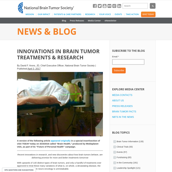 Innovations in Brain Tumor Treatments & Research - News & Blog - National Brain Tumor Society