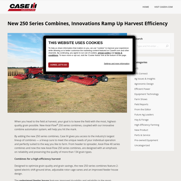 New 250 Series Combines, Innovations Ramp Up Harvest Efficiency