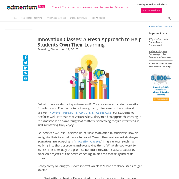 Innovation Classes: A Fresh Approach to Help Students Own Their Learning