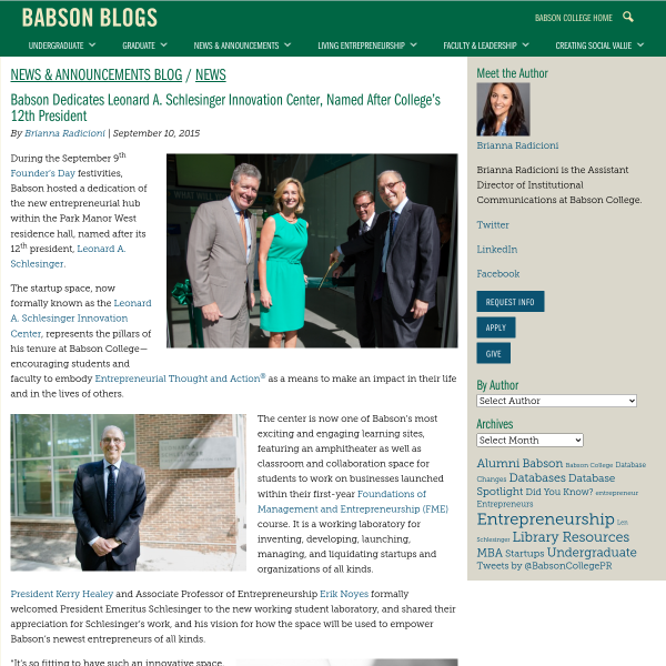 Babson Dedicates Leonard A. Schlesinger Innovation Center, Named After College's 12th President