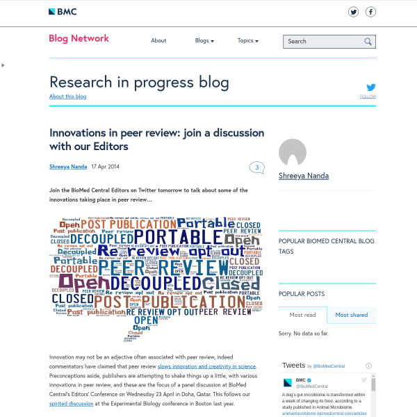Innovations in peer review: join a discussion with our Editors - Research in progress blog