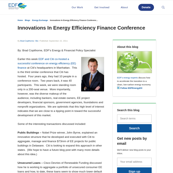 Innovations In Energy Efficiency Finance Conference
