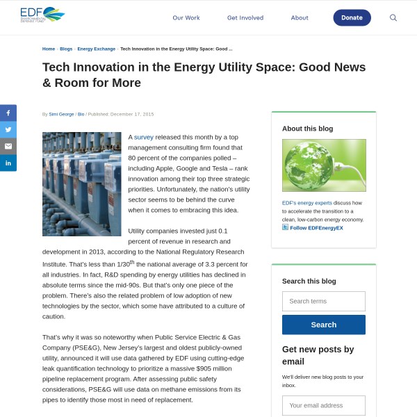 Tech Innovation in the Energy Utility Space: Good News & Room for More