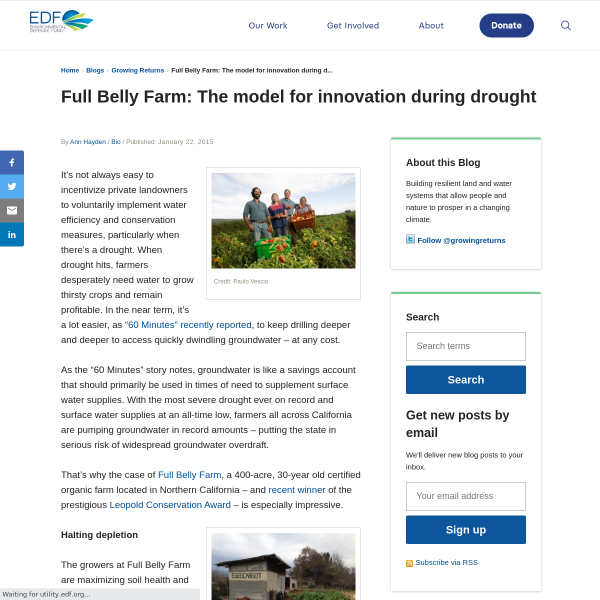 Full Belly Farm: The model for innovation during drought