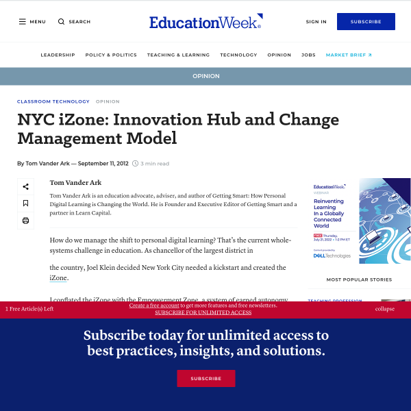 NYC iZone: Innovation Hub and Change Management Model