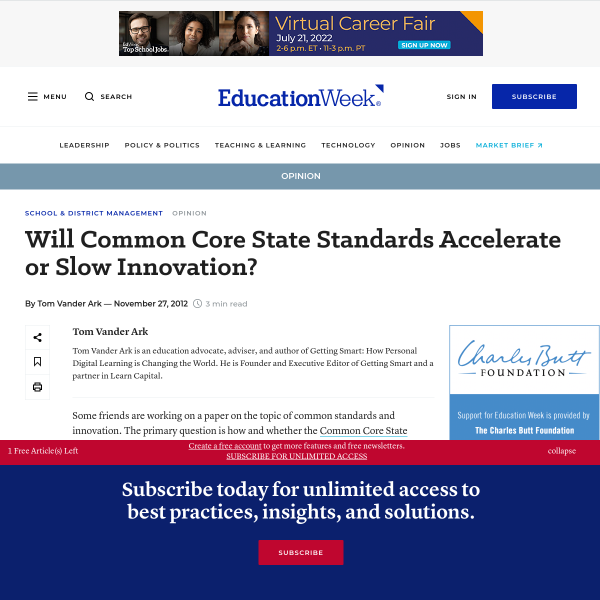 Will Common Core State Standards Accelerate or Slow Innovation?