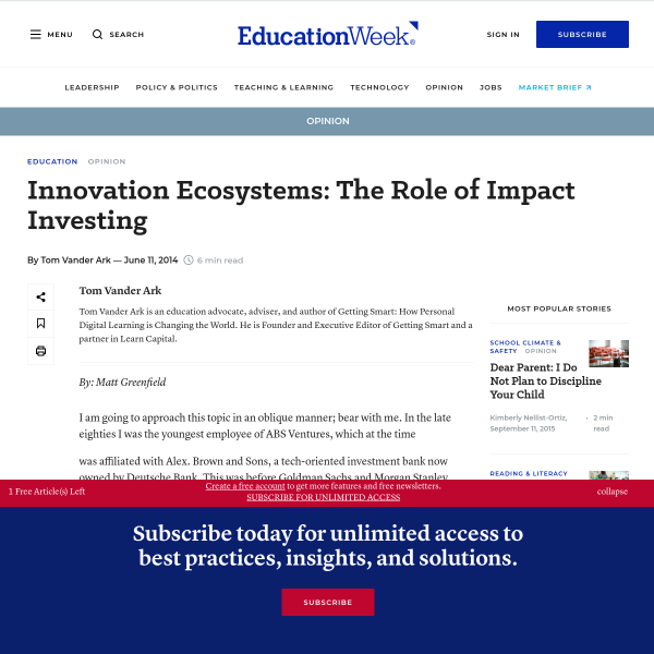 Innovation Ecosystems: The Role of Impact Investing