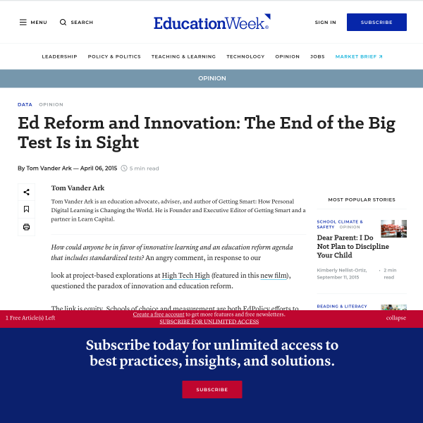 Ed Reform and Innovation: The End of the Big Test Is in Sight