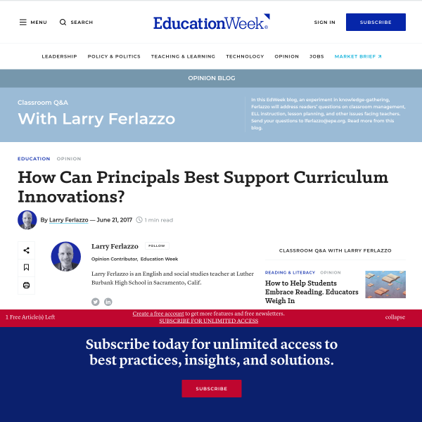 How Can Principals Best Support Curriculum Innovations?