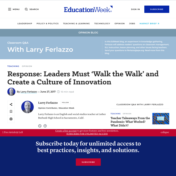 Response: Leaders Must 'Walk the Walk' and Create a Culture of Innovation