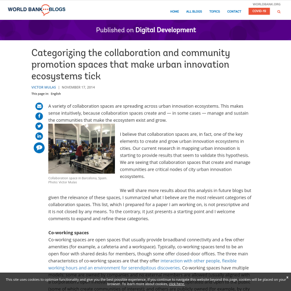 Categorizing the collaboration and community promotion spaces that make urban innovation ecosystems tick