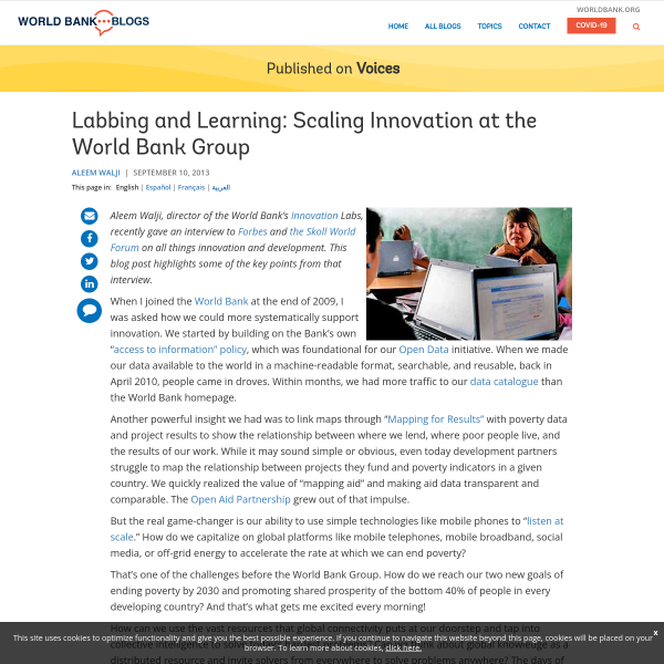 Labbing and Learning: Scaling Innovation at the World Bank Group