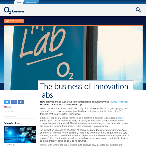 The business of innovation labs - O2 Business Blog
