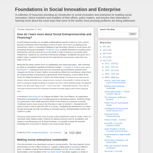 Foundations in Social Innovation and Enterprise