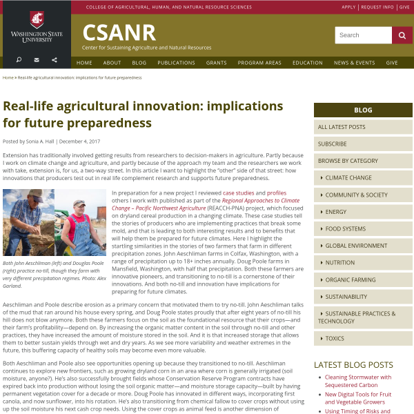 Real-life agricultural innovation: implications for future preparedness