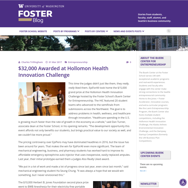 $32,000 Awarded at Hollomon Health Innovation Challenge - Foster Blog
