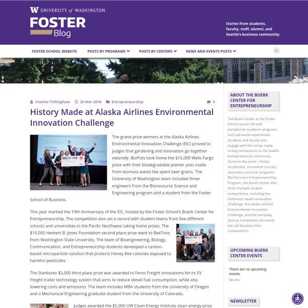 History Made at Alaska Airlines Environmental Innovation Challenge - Foster Blog