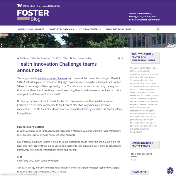 Health Innovation Challenge teams announced - Foster Blog