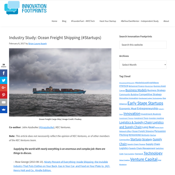 Industry Study: Ocean Freight Shipping (#Startups) - Innovation Footprints