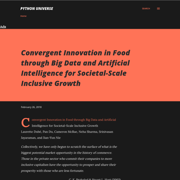 Convergent Innovation in Food through Big Data and Artificial Intelligence for Societal-Scale Inclusive Growth