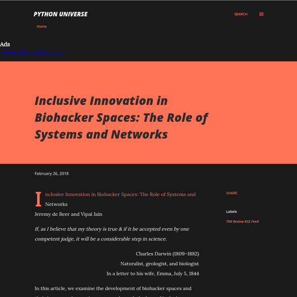 Inclusive Innovation in Biohacker Spaces: The Role of Systems and Networks