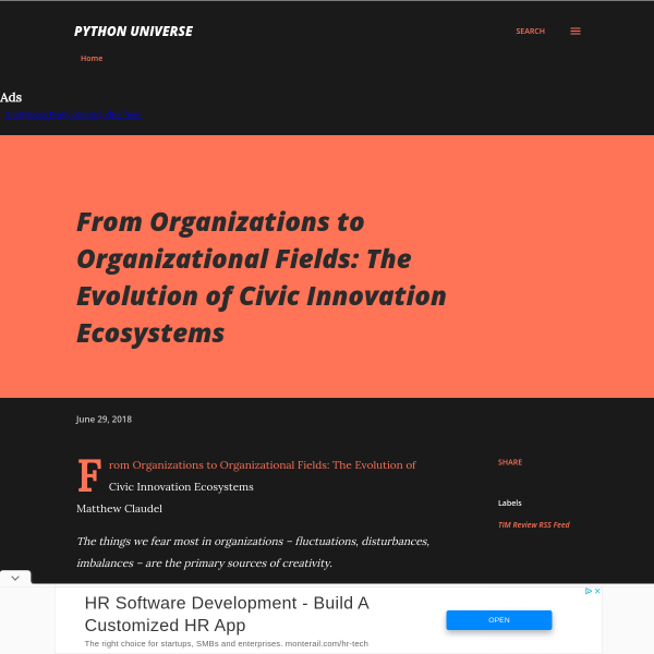 From Organizations to Organizational Fields: The Evolution of Civic Innovation Ecosystems