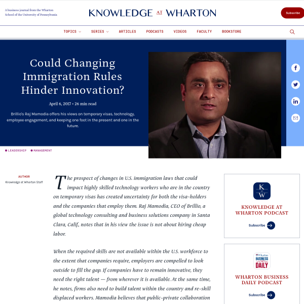 Could Changing Immigration Rules Hinder Innovation? - Knowledge@Wharton