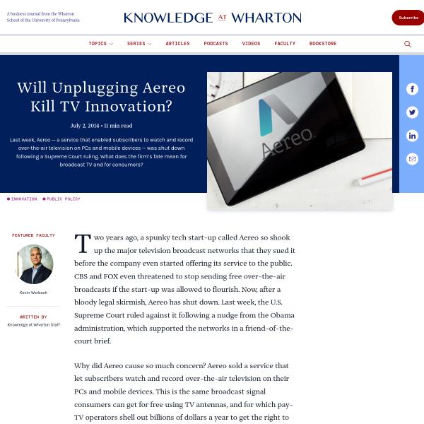 Will Unplugging Aereo Kill TV Innovation? - Knowledge@Wharton