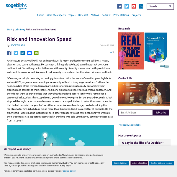 Risk and Innovation Speed - SogetiLabs