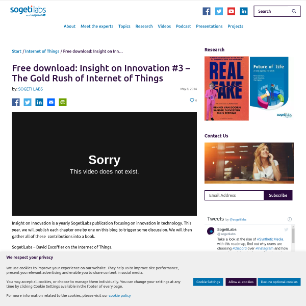 Free download: Insight on Innovation #3 - The Gold Rush of Internet of Things - SogetiLabs