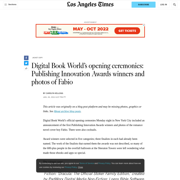 Digital Book World's opening ceremonies: Publishing Innovation Awards winners and photos of Fabio