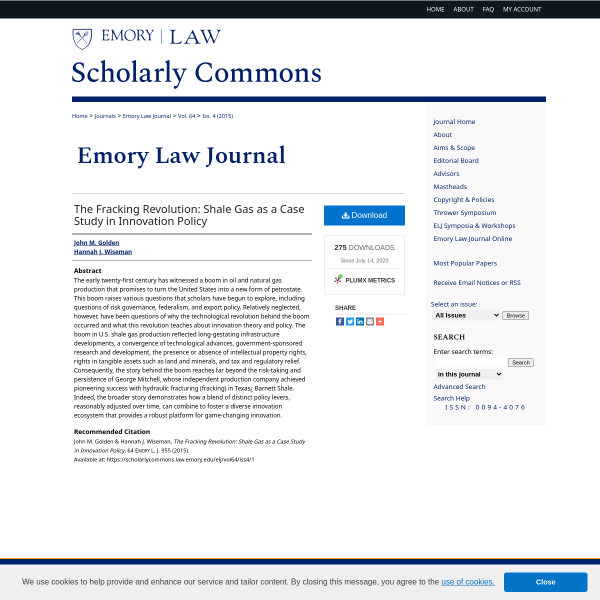 The Fracking Revolution: Shale Gas as a Case Study in Innovation Policy - Emory University School of Law - Atlanta, GA