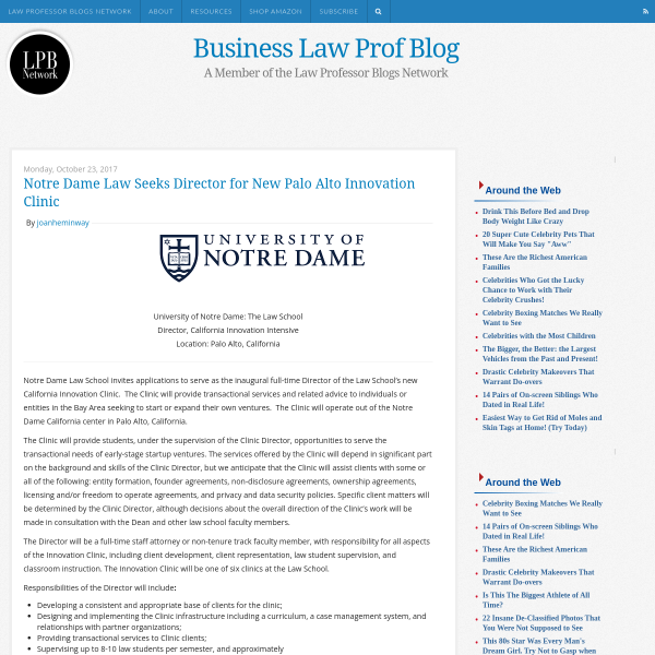 Business Law Prof Blog: Notre Dame Law Seeks Director for New Palo Alto Innovation Clinic