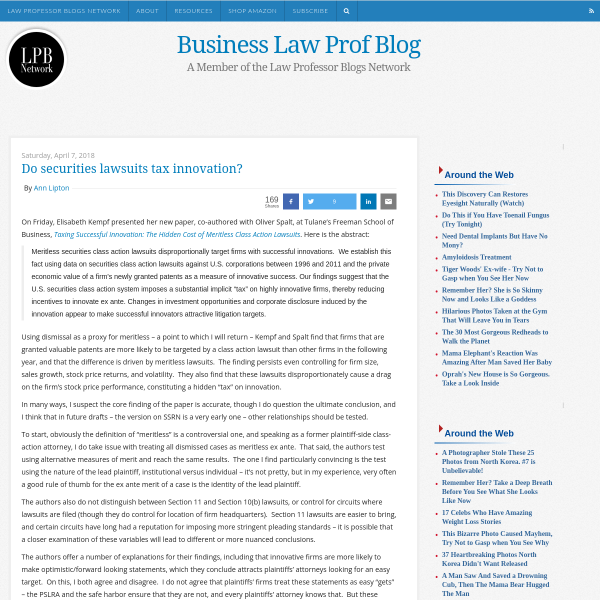 Business Law Prof Blog: Do securities lawsuits tax innovation?