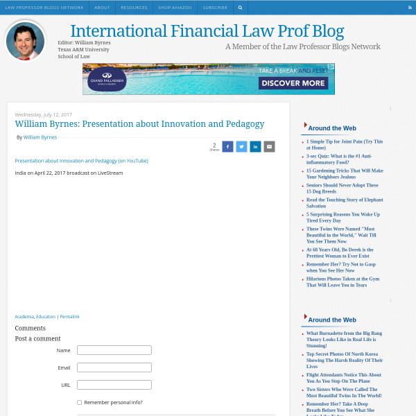 International Financial Law Prof Blog: William Byrnes: Presentation about Innovation and Pedagogy