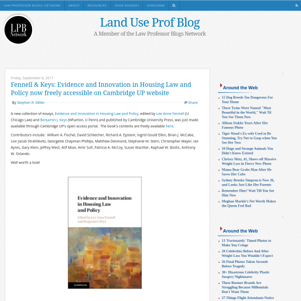 Land Use Prof Blog: Fennell & Keys: Evidence and Innovation in Housing Law and Policy now freely accessible on Cambridge UP website