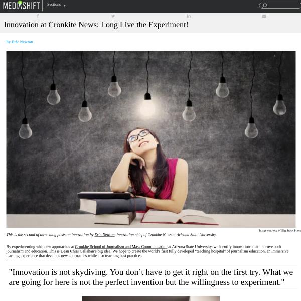 Innovation at Cronkite News: Long Live the Experiment! - MediaShift