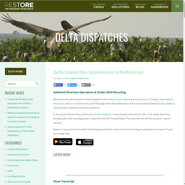 Podcast: Delta Dispatches: Innovations in Restoration