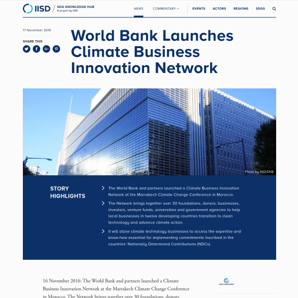 World Bank Launches Climate Business Innovation Network - News - SDG Knowledge Hub - IISD