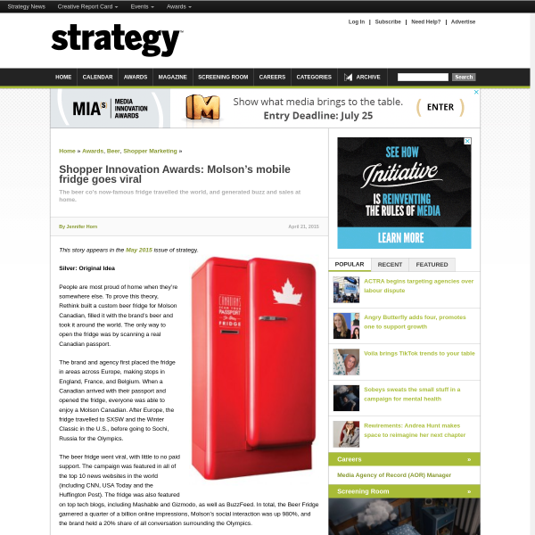 Shopper Innovation Awards: Molson's mobile fridge goes viral