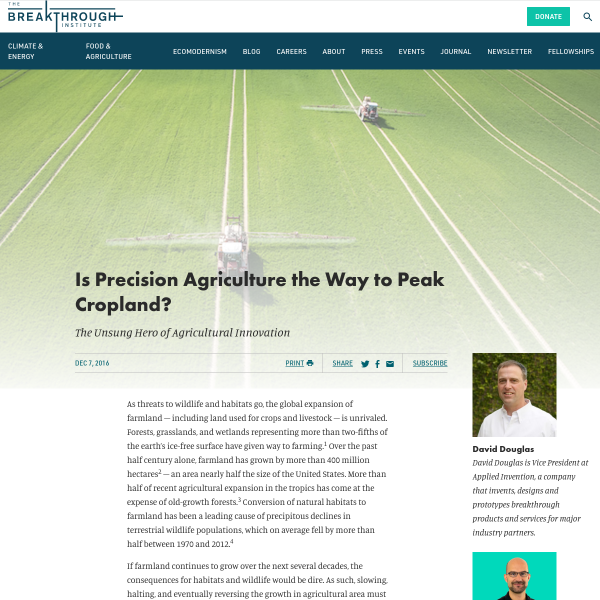 Is Precision Agriculture the Way to Peak Cropland? -- The Unsung Hero of Agricultural Innovation